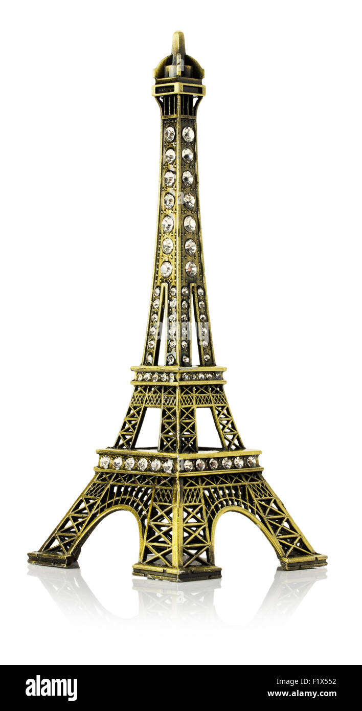 Miniature of the Eiffel Tower isolated on the white background. - Stock Image