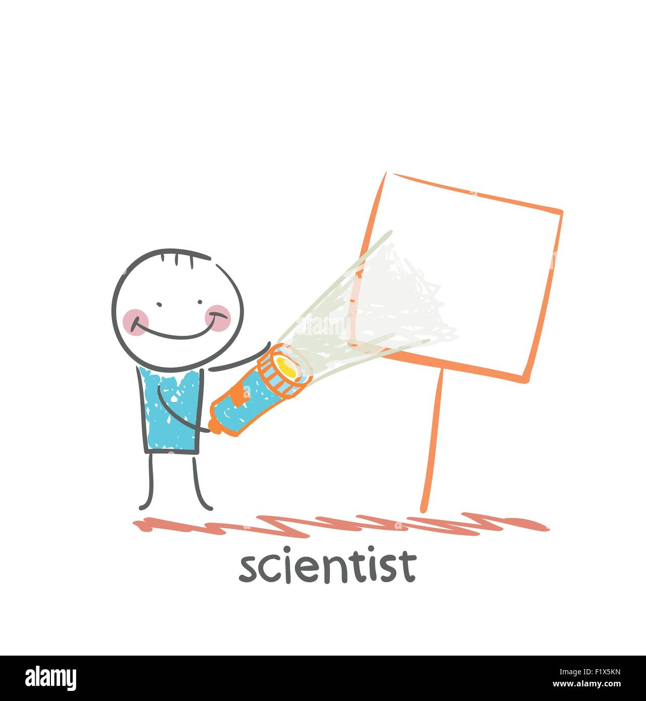 scientist shines a flashlight on a poster - Stock Image