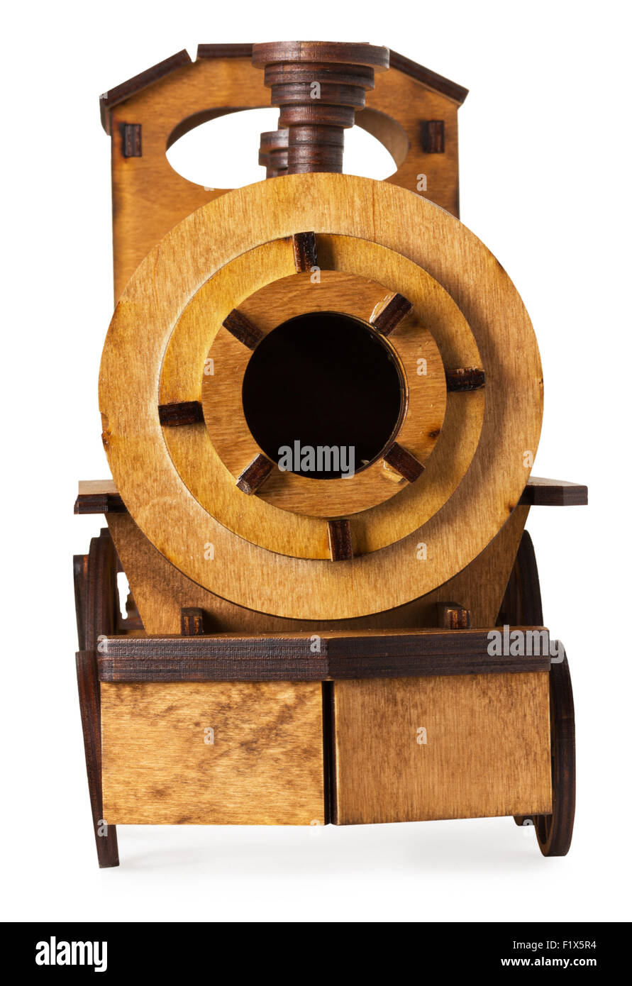 wooden model of train isolated on the white background. Stock Photo