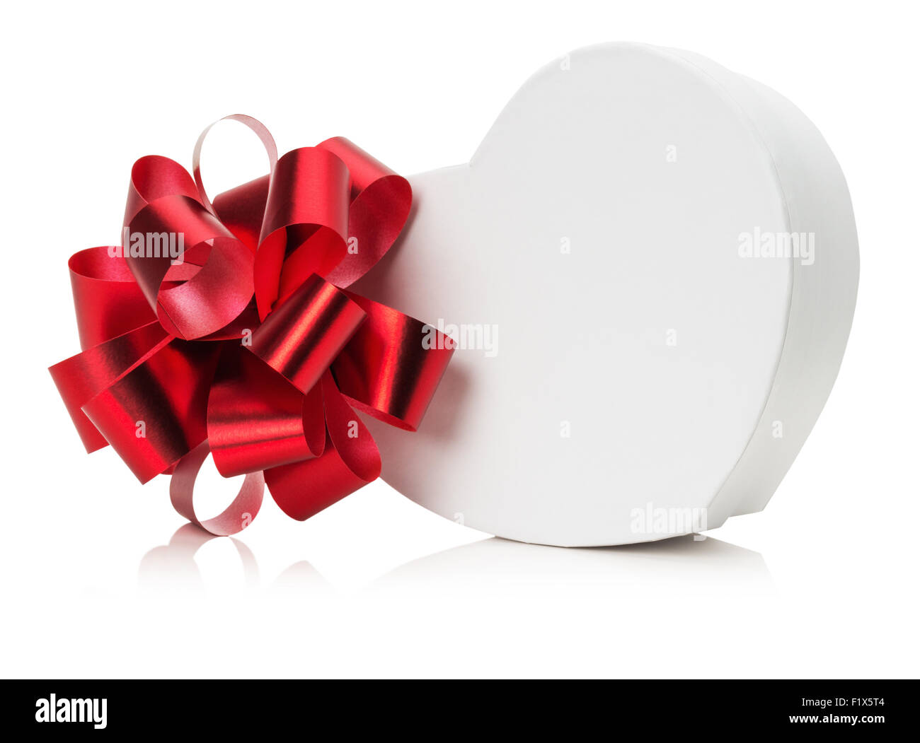 heart shaped gift box with red bow. Stock Photo