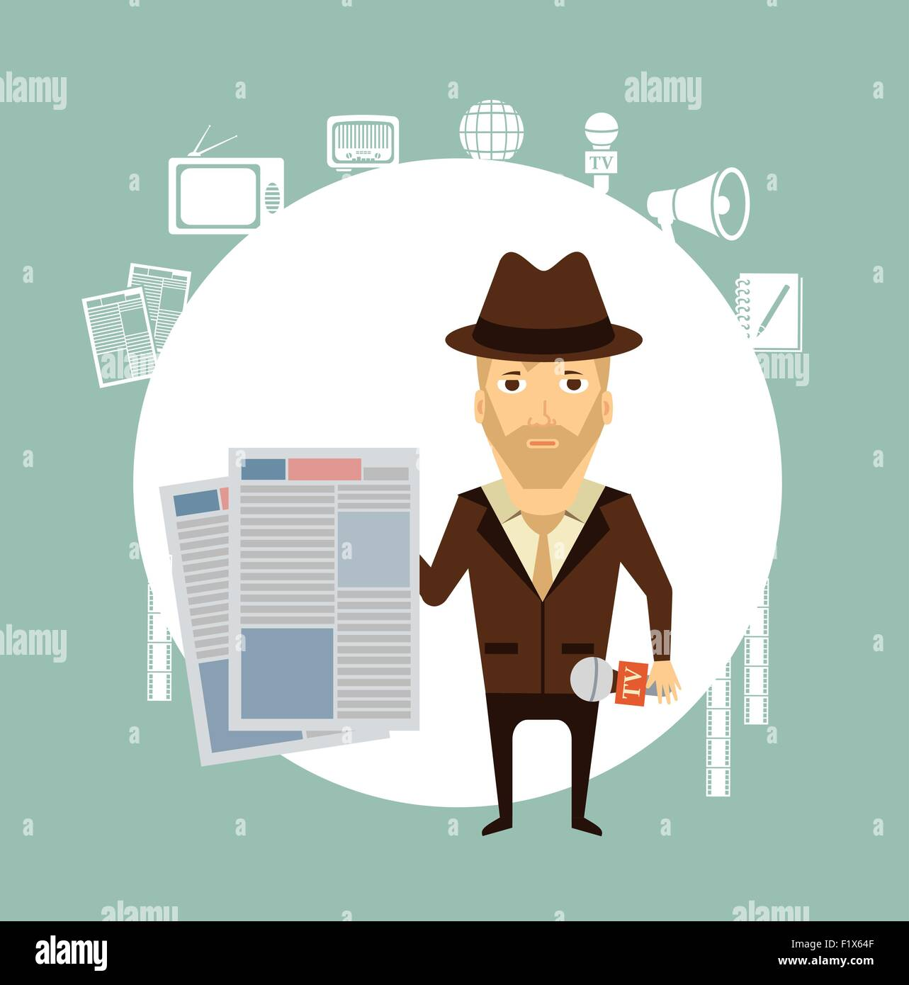 journalist holding a newspaper  illustration. Flat modern style vector design - Stock Image