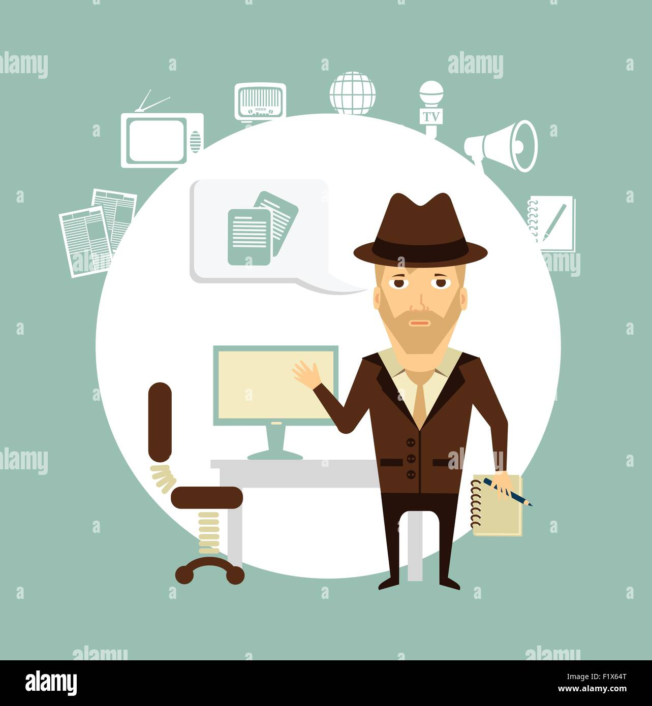 journalist talks about working in his office illustration - Stock Vector