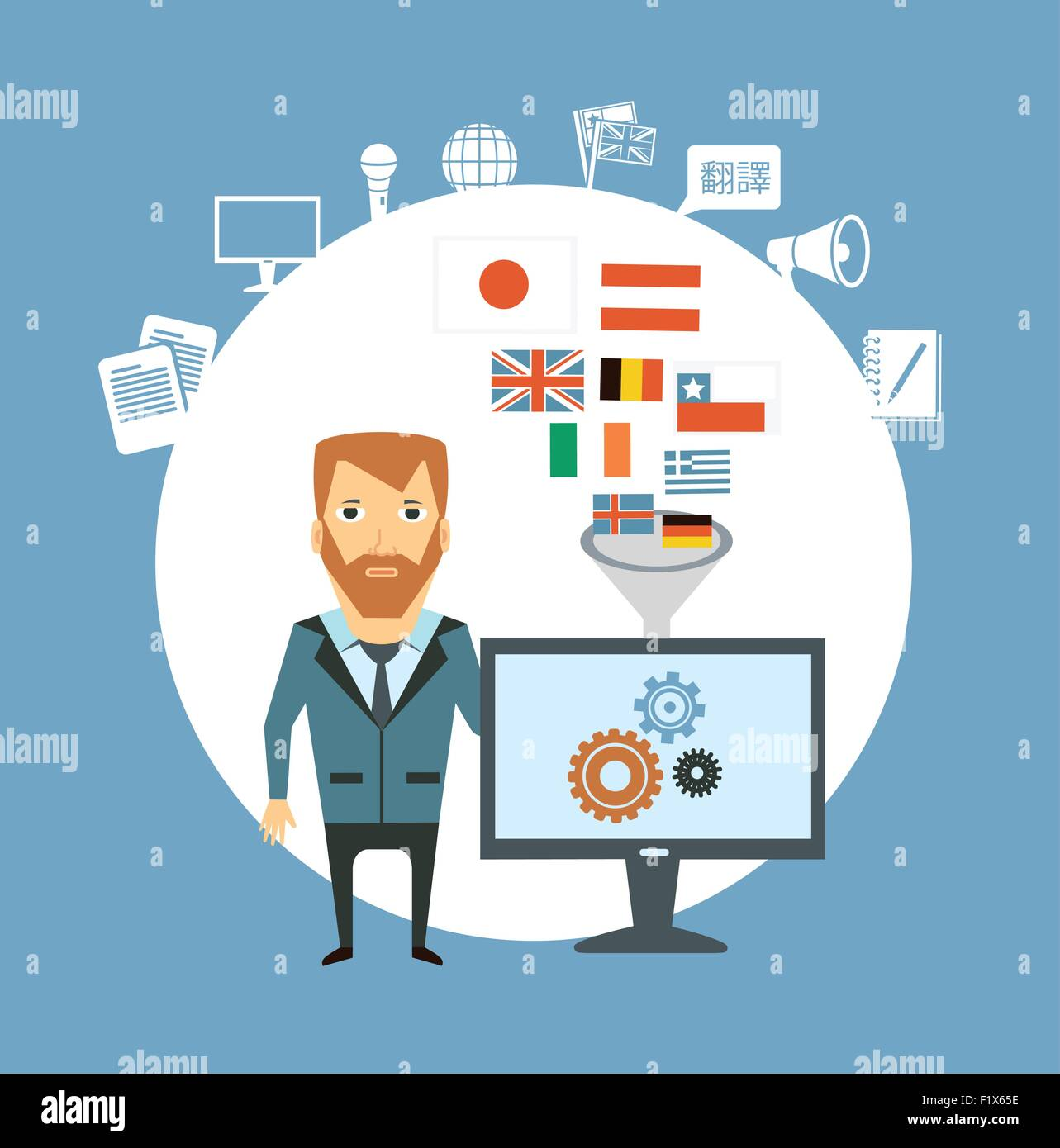 translator works at the computer  illustration. Flat modern style vector design - Stock Image