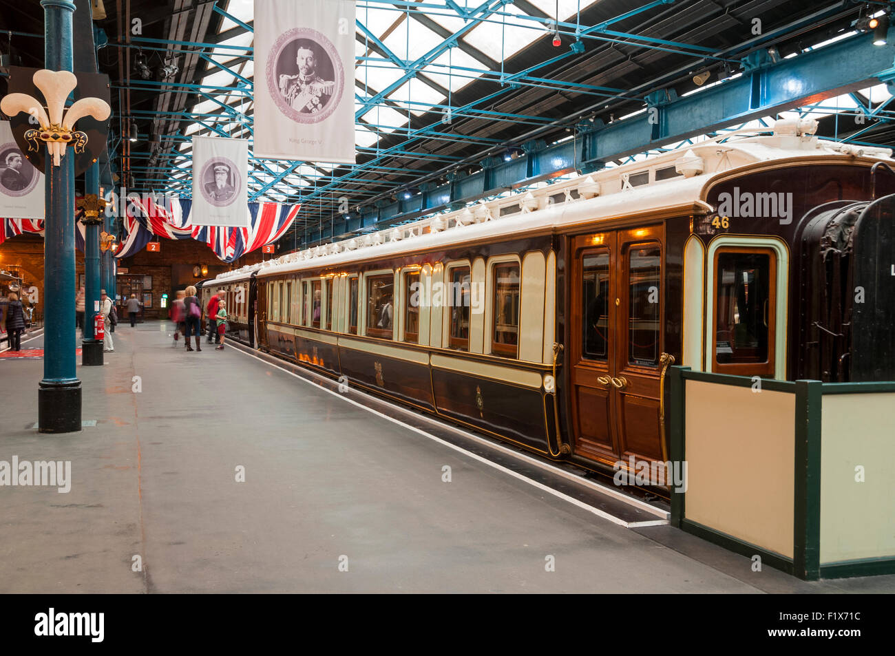 The Royal Carriages at the National Railway Museum, City of York, Yorkshire, England, UK - Stock Image