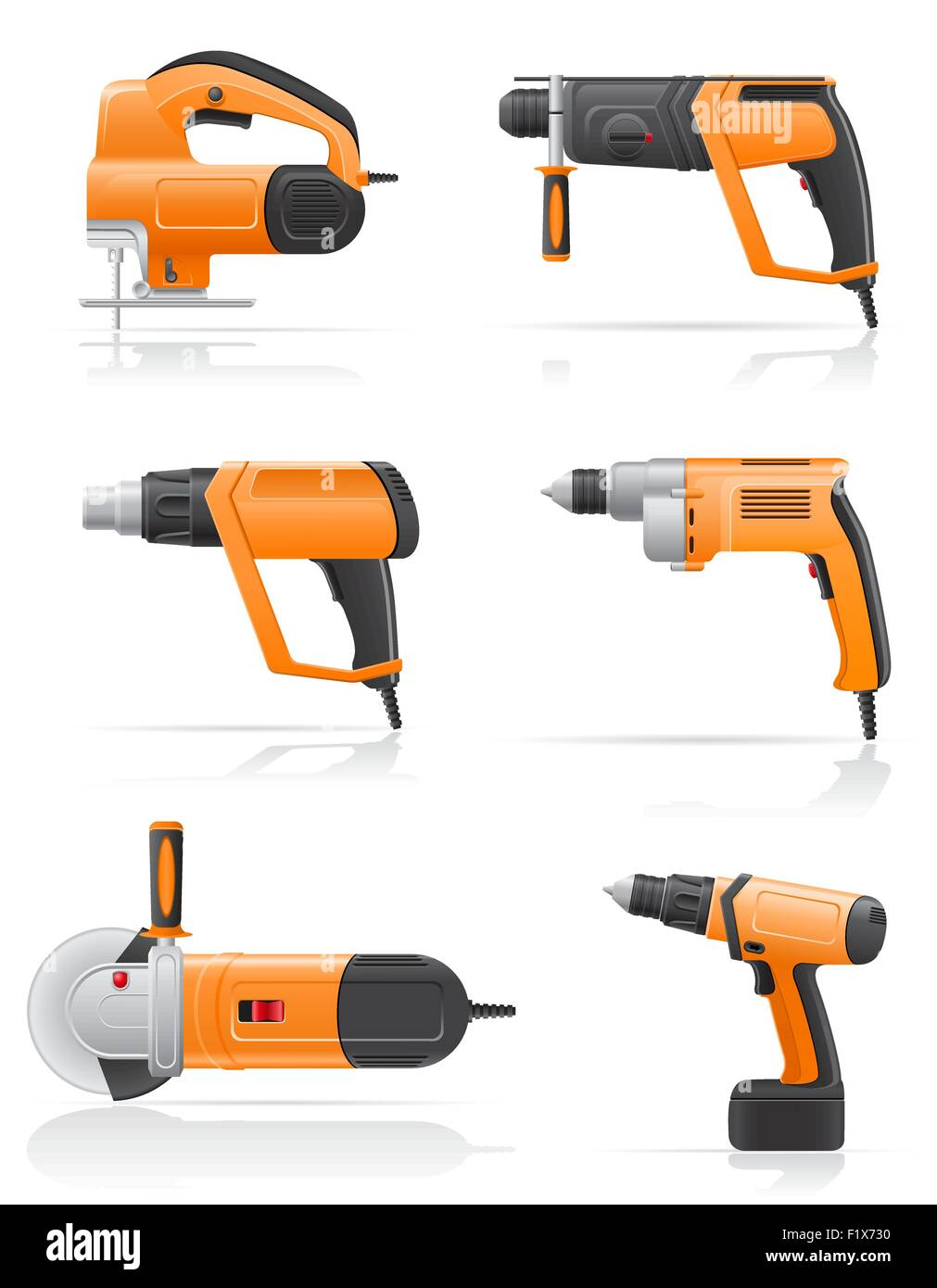 electric tools set icons vector illustration isolated on white background - Stock Vector