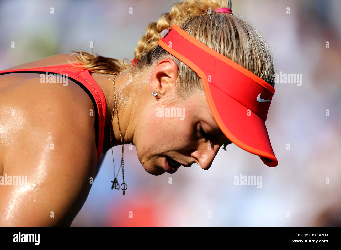 Flushing Meadows, New York, USA. 07th Sep, 2015. Sabine Lisicki of Germany after losing her fourth round match against - Stock Image