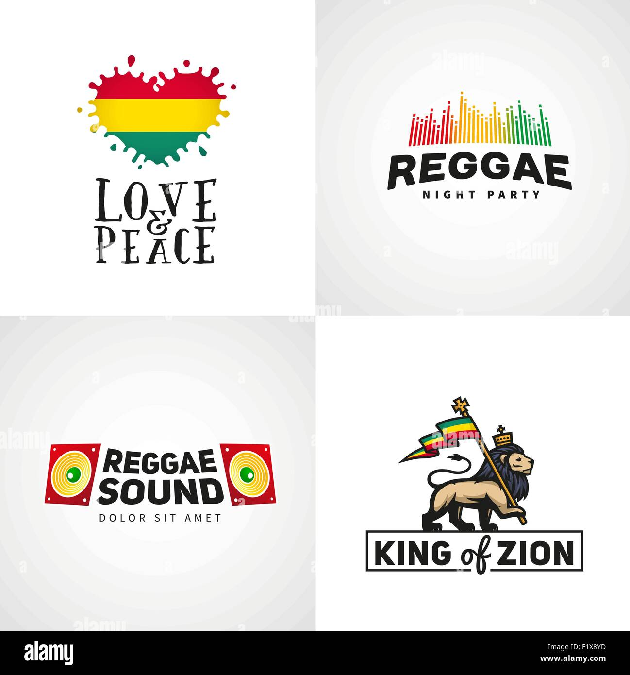 6167d0e95 Set of reggae music vector design. Love and peace concept. Judah lion with a
