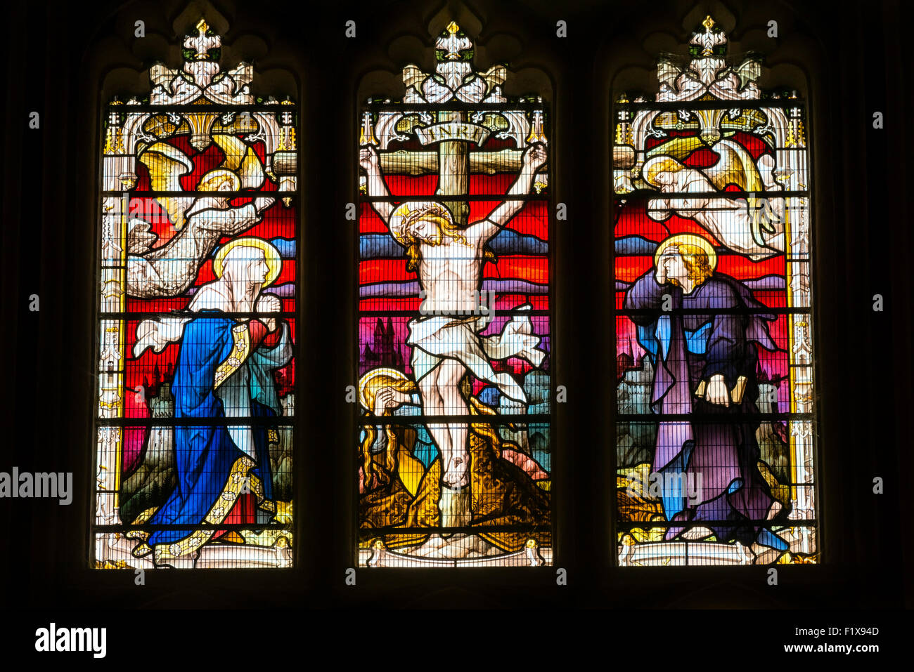 Tewkesbury Abbey church stained glass, UK. - Stock Image