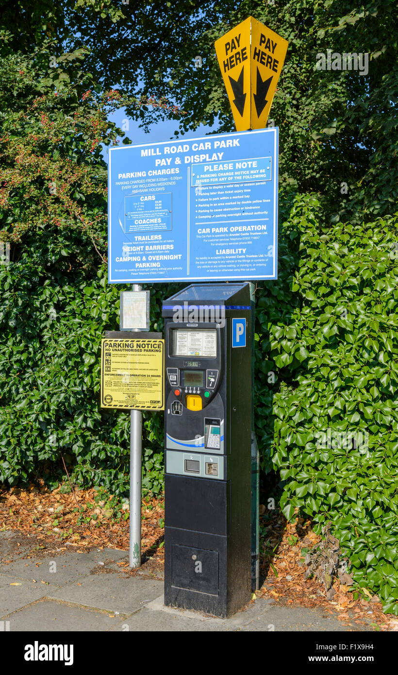 Pay and Display ticketing machine in a car park in England, UK. - Stock Image