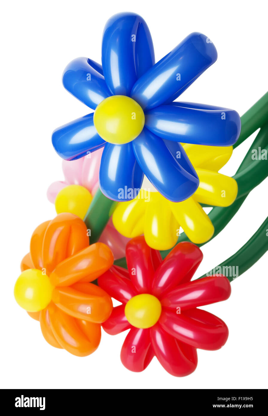 Bouquet With Colorful Balloon Flowers On The White Background Stock