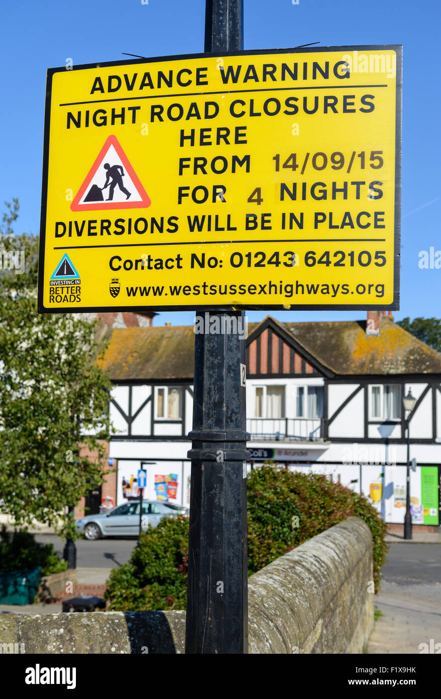 Advanced warning notice of a road closure in the UK. - Stock Image