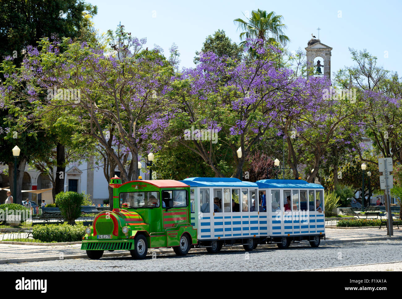 Tourist 'train' in the central square, Faro, Algarve, with Jacaranda trees in flower - Stock Image