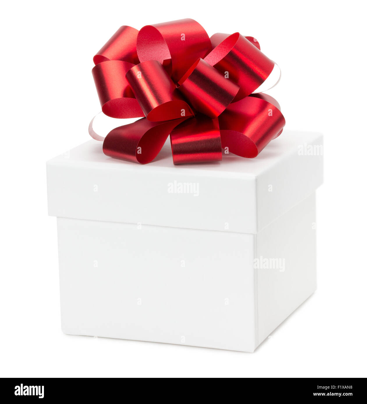 gift box with red bow isolated on the white background. - Stock Image