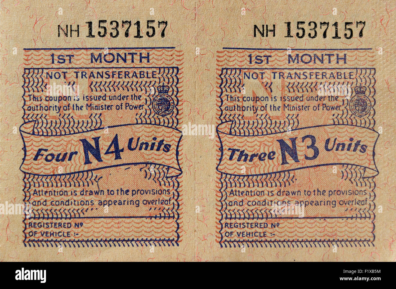 UK Petrol rationing coupons from 1973 - Stock Image