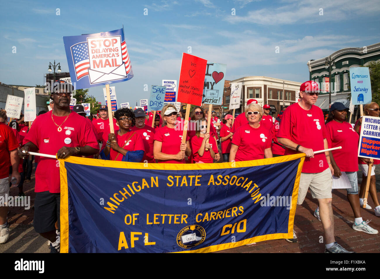 Detroit, Michigan - Members of the National Association of Letter Carriers protest plans for five-day-a-week mail - Stock Image