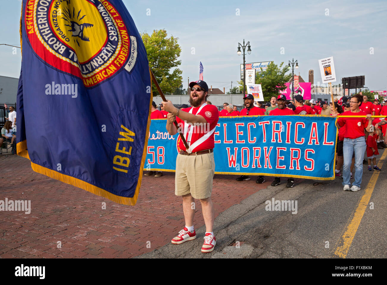 Detroit, Michigan - Members of the International Brotherhood of Electrical Workers participate in the Labor Day - Stock Image