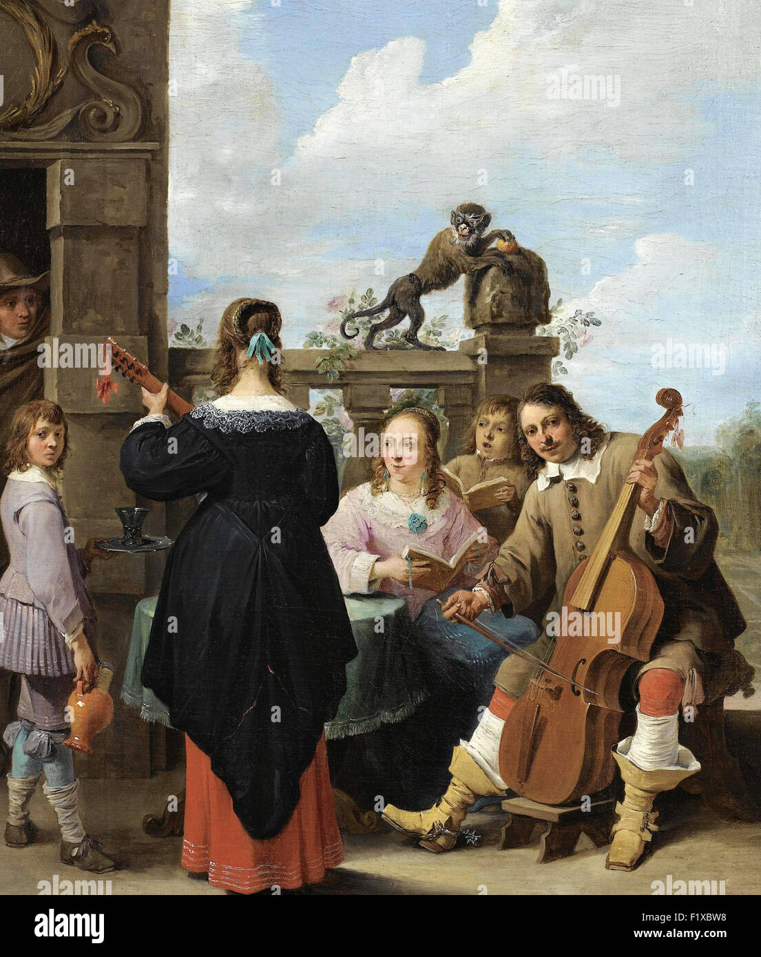 David Teniers the Younger - A Family concert on the Terrace of a country house _ a Self portrait of the Artist with - Stock Image