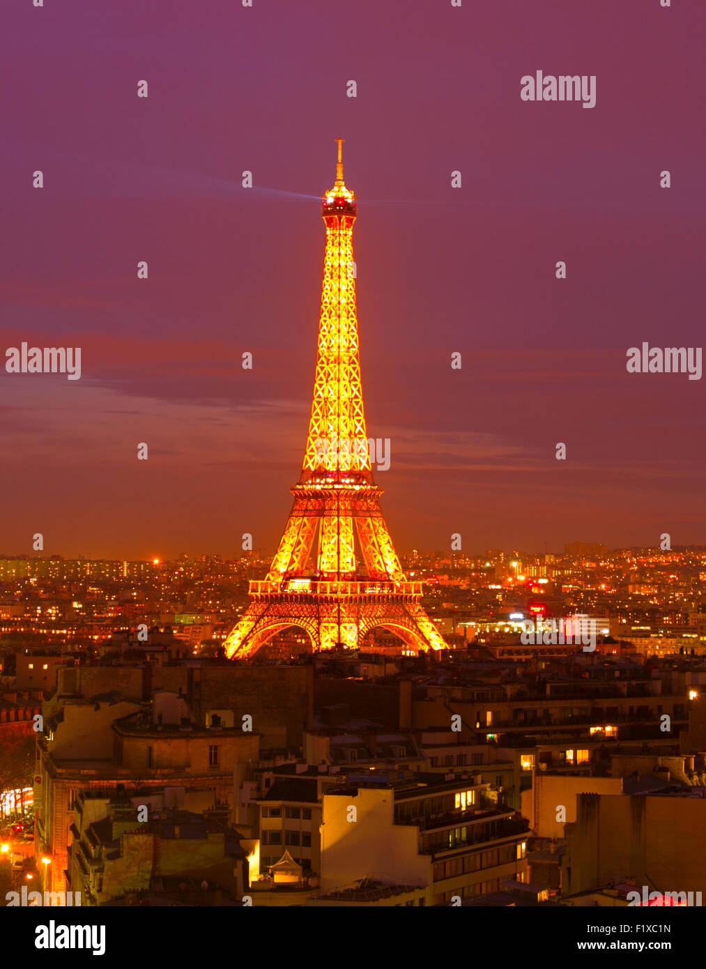 Eiffel Tower Light Performance Show at night. - Stock Image