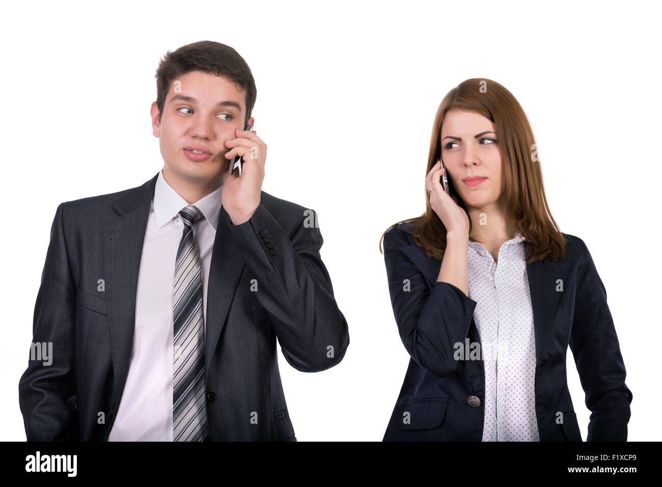 Young people talking on the phones - Stock Image