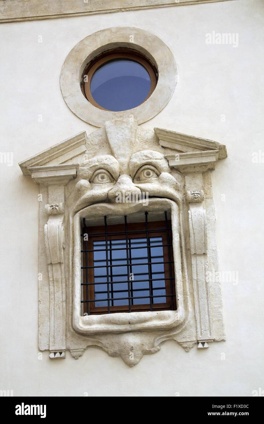 Détail maison près de la Place d'Espagne, Via Gregoriana.  Rome.  Italie. - Stock Image