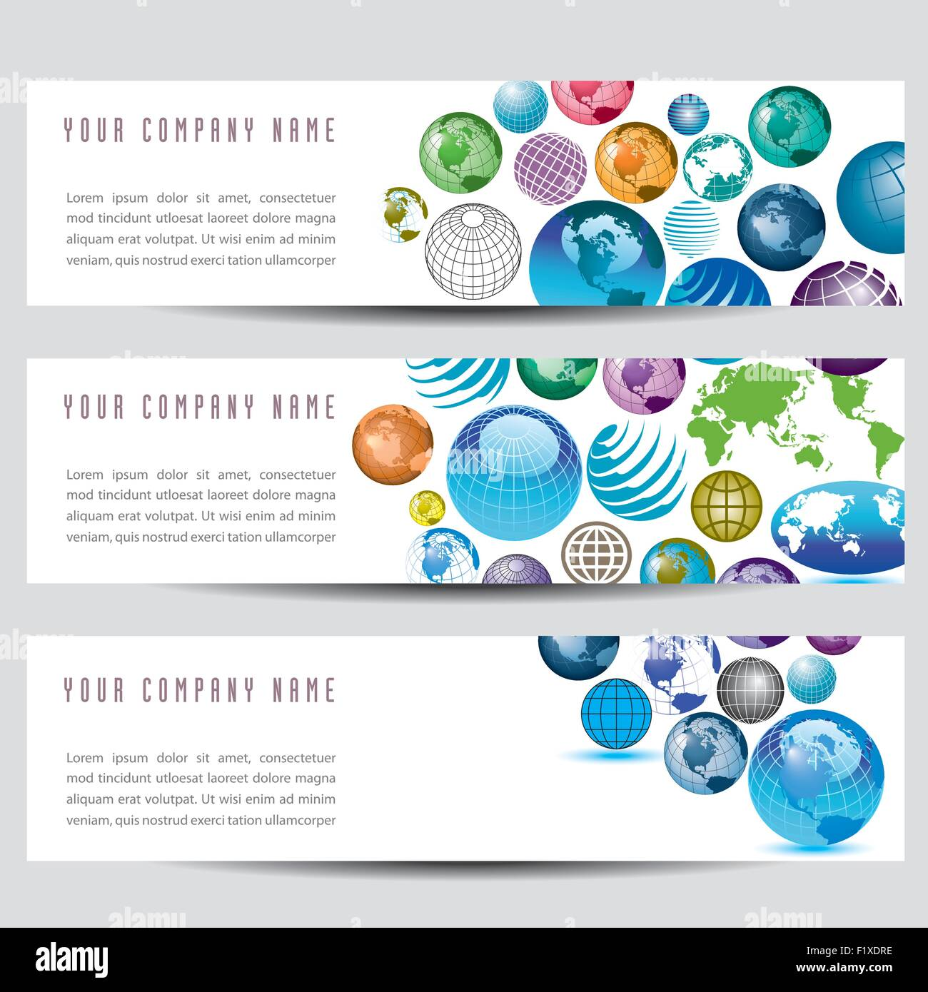 A set of globe banners - Stock Image