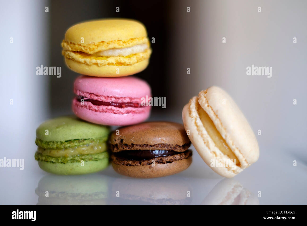 Pile of colorful macaroons Stock Photo