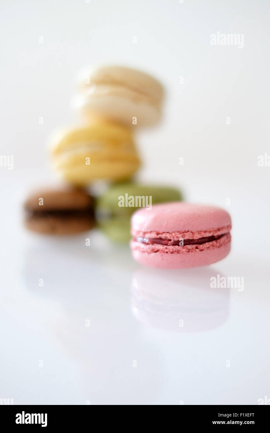 Pile of colorful macaroons - Stock Image