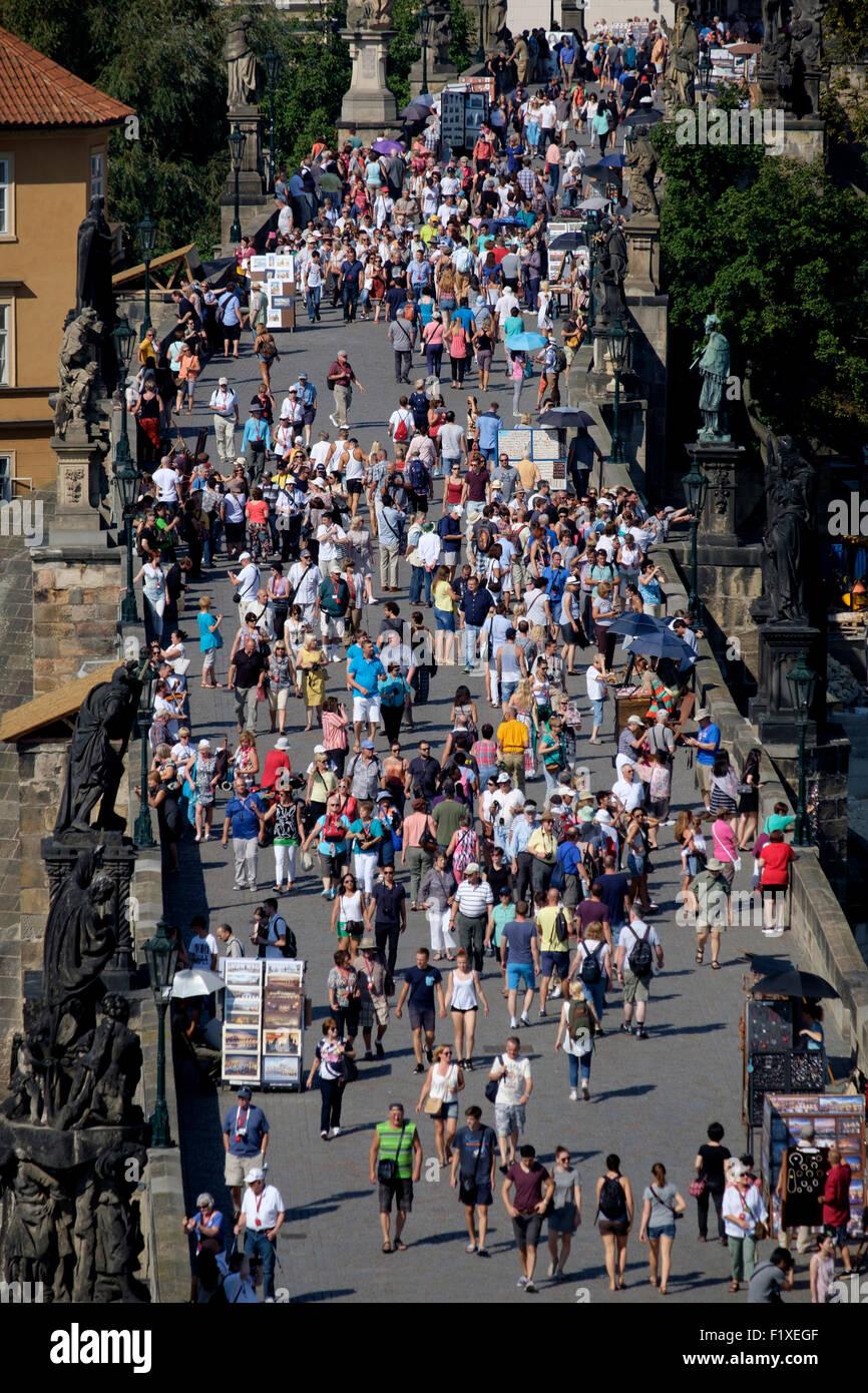Crowded Charles Bridge, Prague, Czech Republic, Europe - Stock Image
