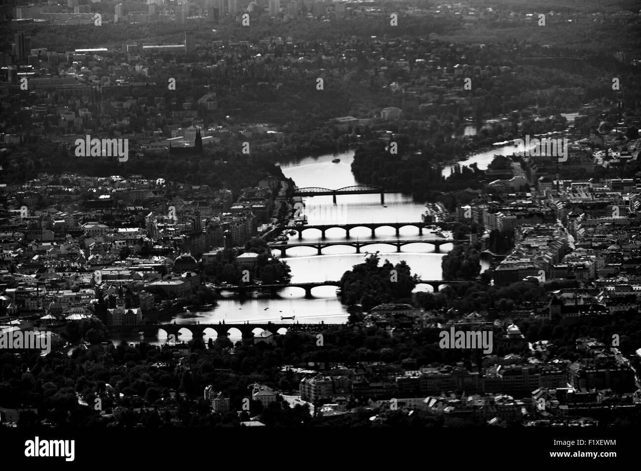 Black and white photo of the bridges over the Vltava river in Prague, Czech Republic, Europe - Stock Image
