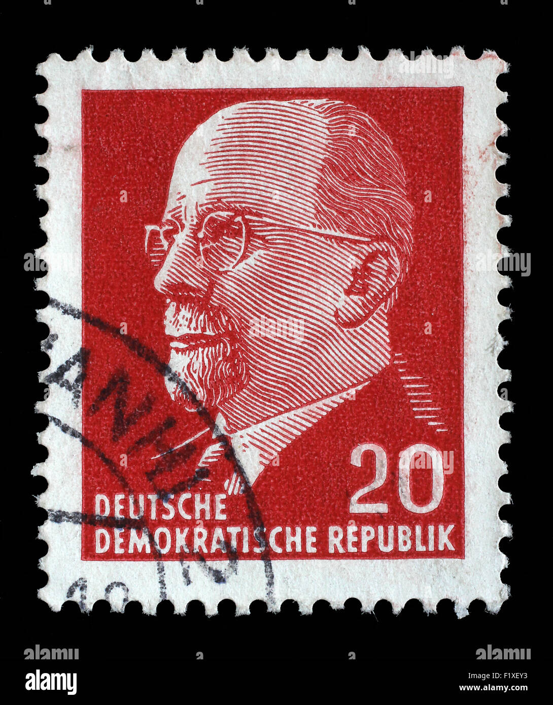 Stamp printed in GDR shows Walter Ulbricht, circa 1961 Stock Photo