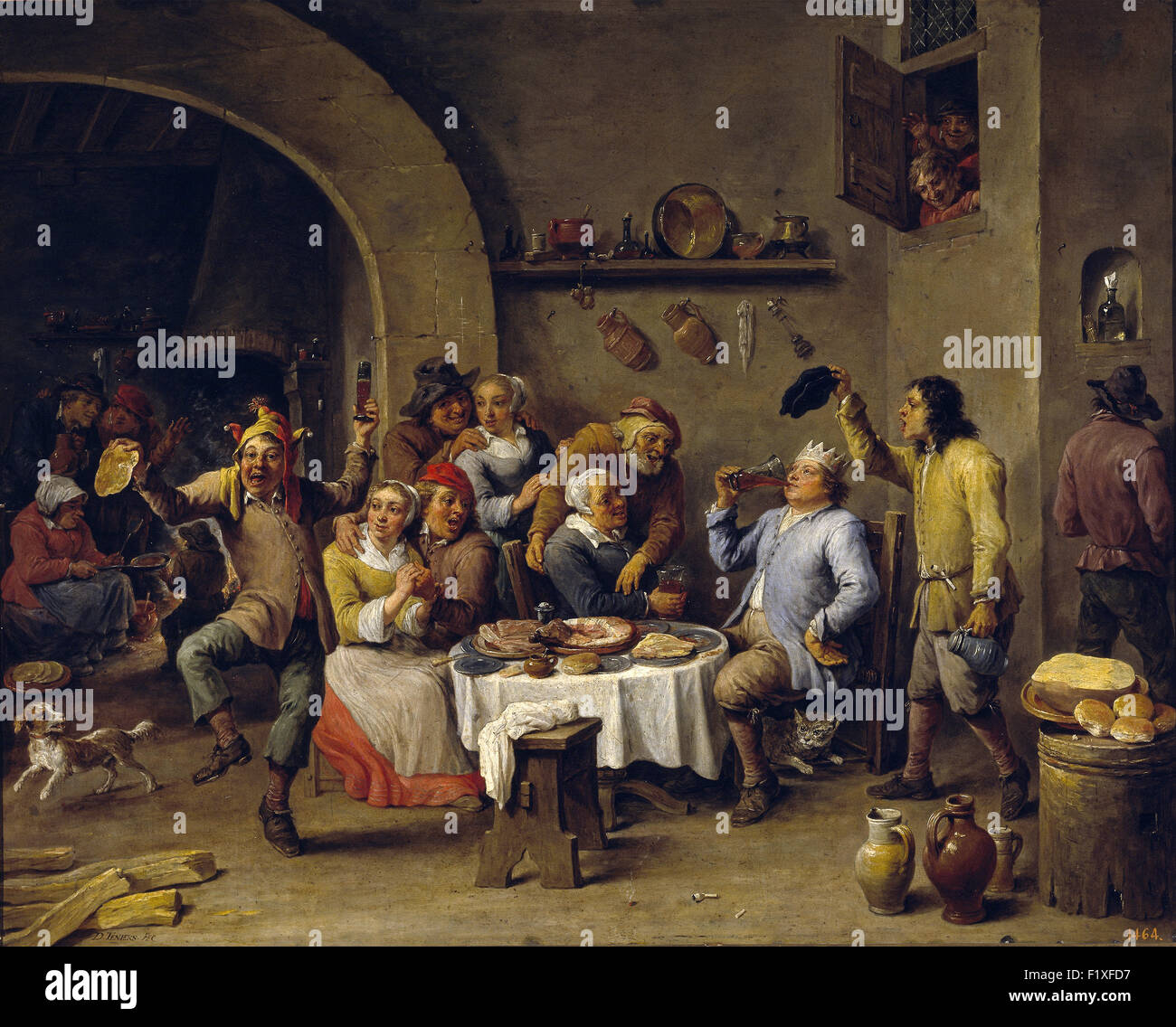David Teniers the Younger - The King Drinks - Stock Image