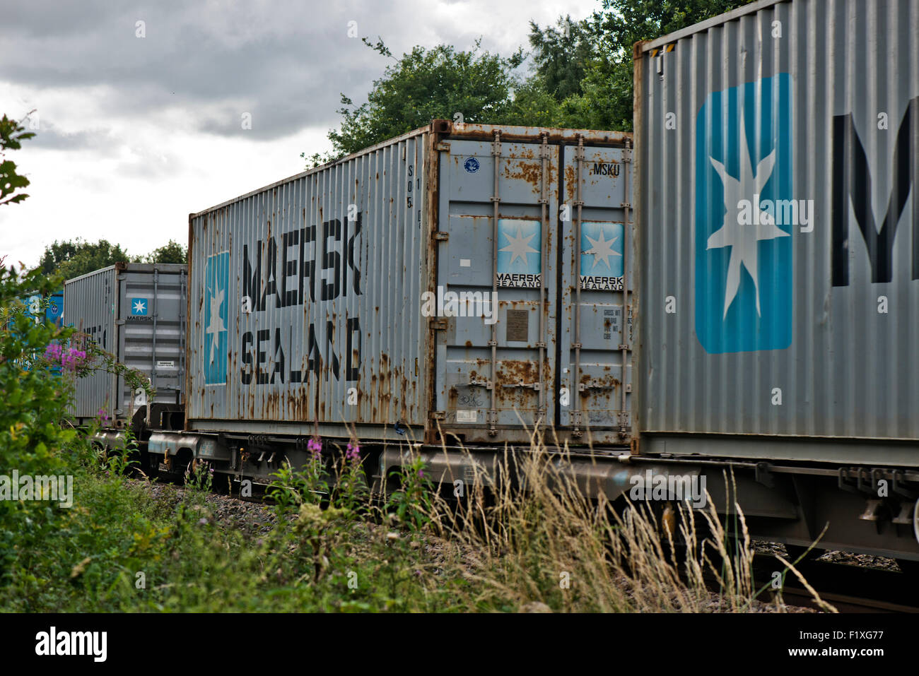 MAERSK Sealand Cargo Containers on railway line next to the Whisby Nature Park, Near Lincoln, Lincolnshire, UK - Stock Image