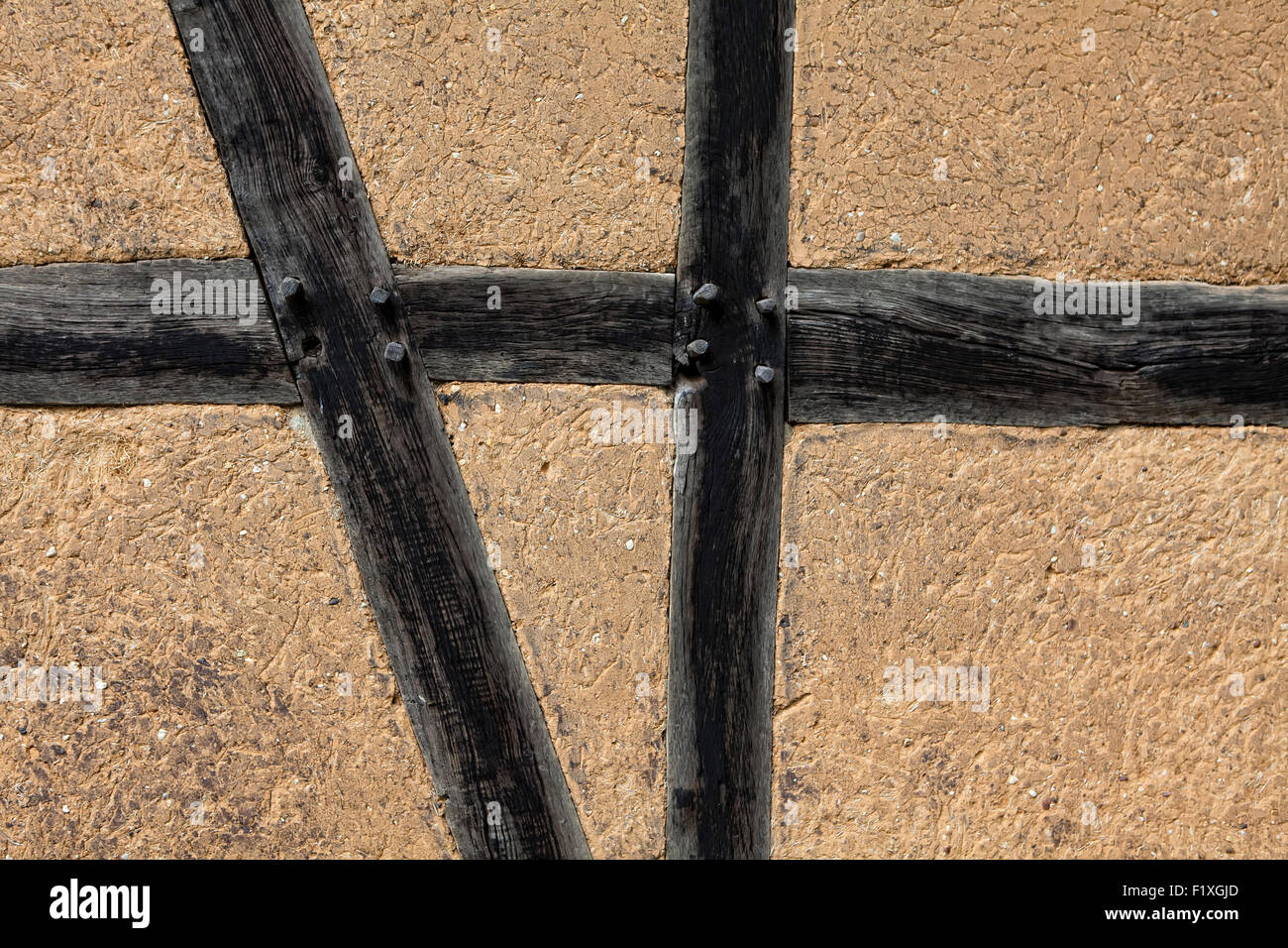Old half-timbered wall, wooden beams with clay, 17th century, Germany, Europe, - Stock Image