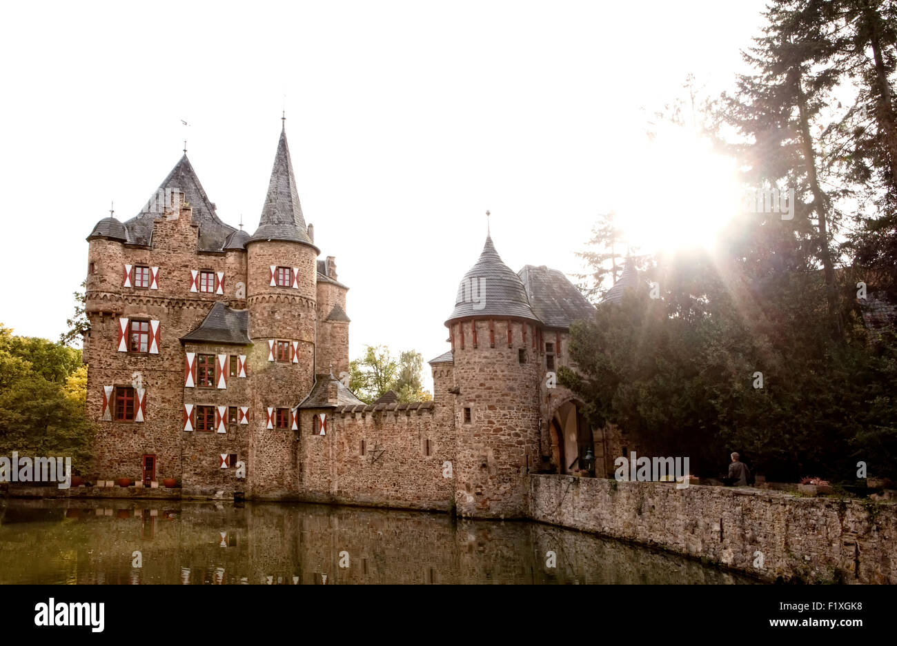 Burg Satzvey, a medieval moated castle, Mechernich, North Rhine-Westphalia, Germany, Europe, Die Burg Satzvey, eine - Stock Image