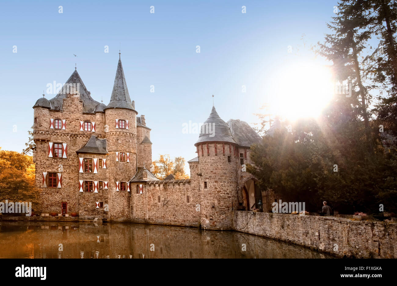 Burg Satzvey, a medieval moated castle, Mechernich, North Rhine-Westphalia, Germany, Europe, - Stock Image