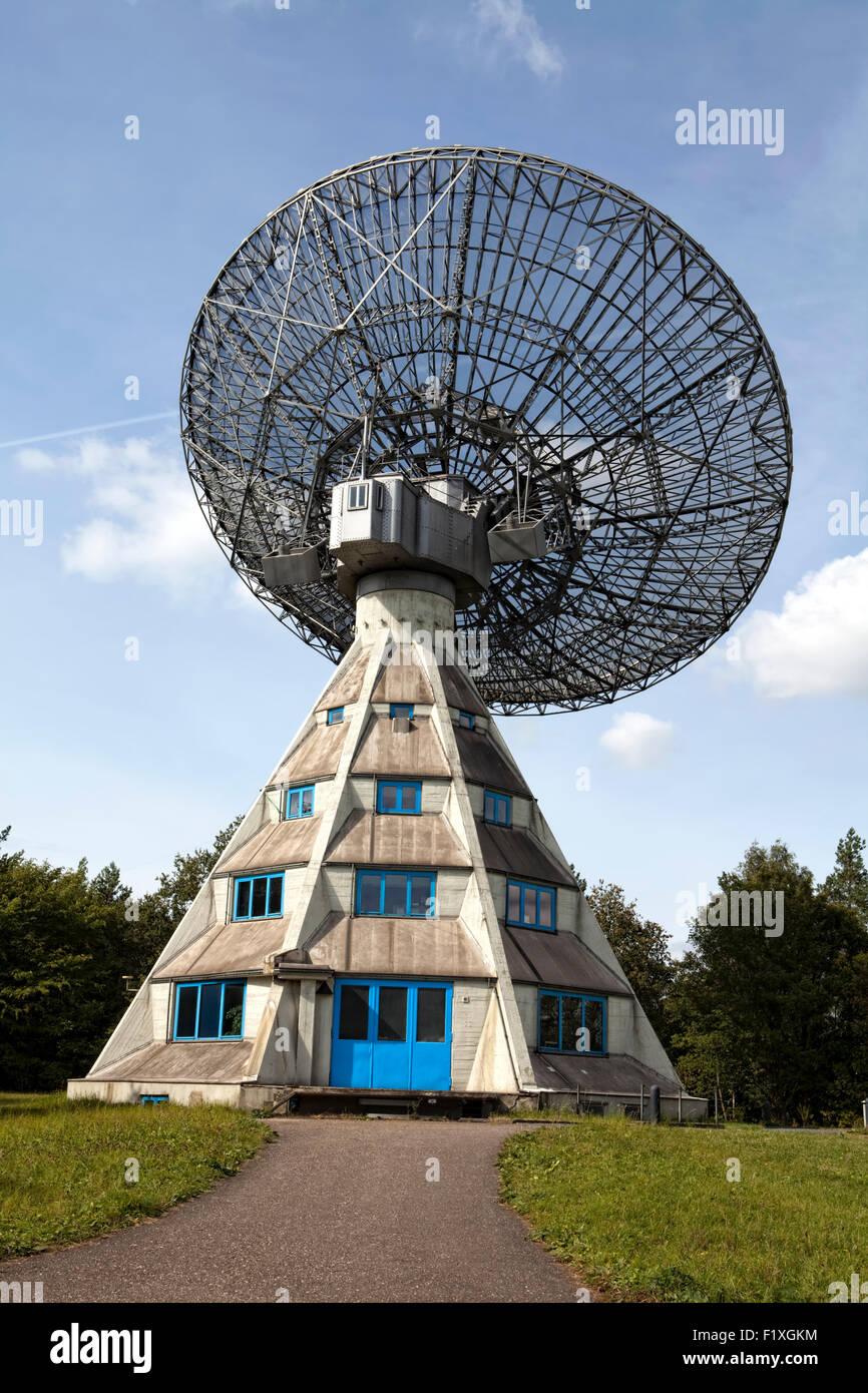 Radio telescope Astropeiler Stockert, on Mt. Stockert at Bad Muenstereifel, Eifel region, North Rhine-Westphalia, - Stock Image