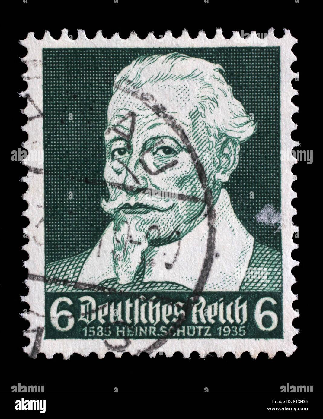 Stamp printed in the German Reich shows Heinrich Schutz (1585-1672), composer, circa 1935. - Stock Image