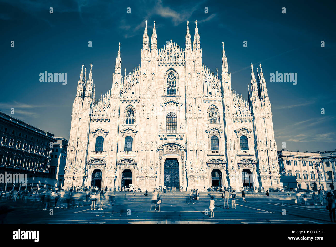 Milan Cathedral, Duomo at Piazza del Duomo. Special photographic processing - Stock Image