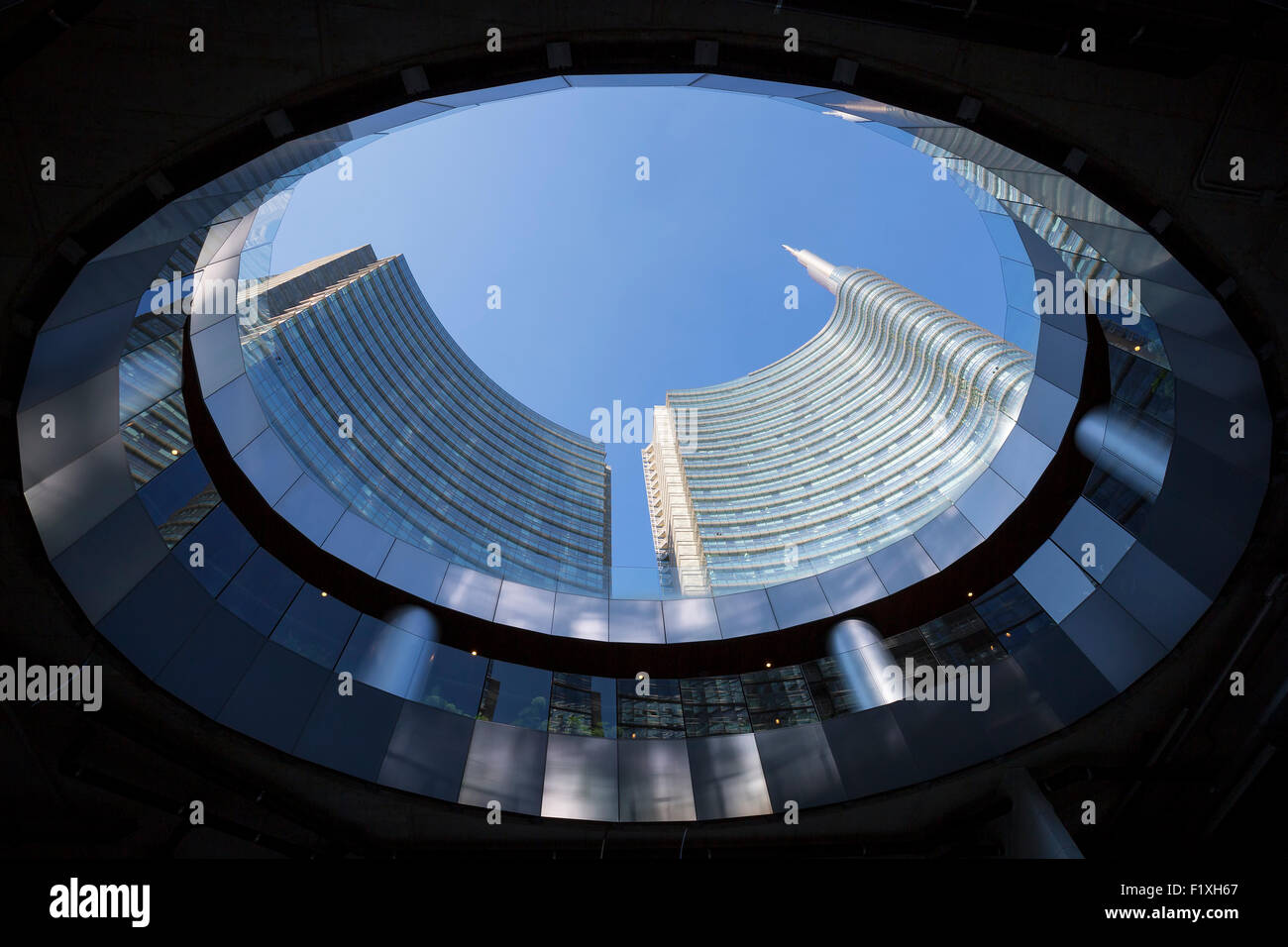 View of buildings from below, Milan, Italy - Stock Image