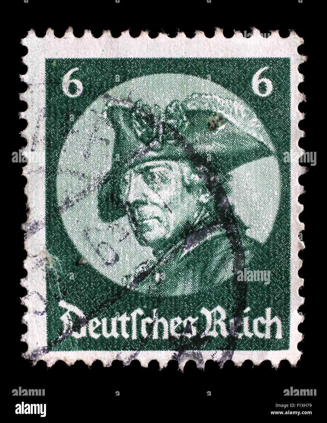 Stamp printed in the German Reich shows image of Friedrich der Grosse, third Hohenzollern king, circa 1933. - Stock Image