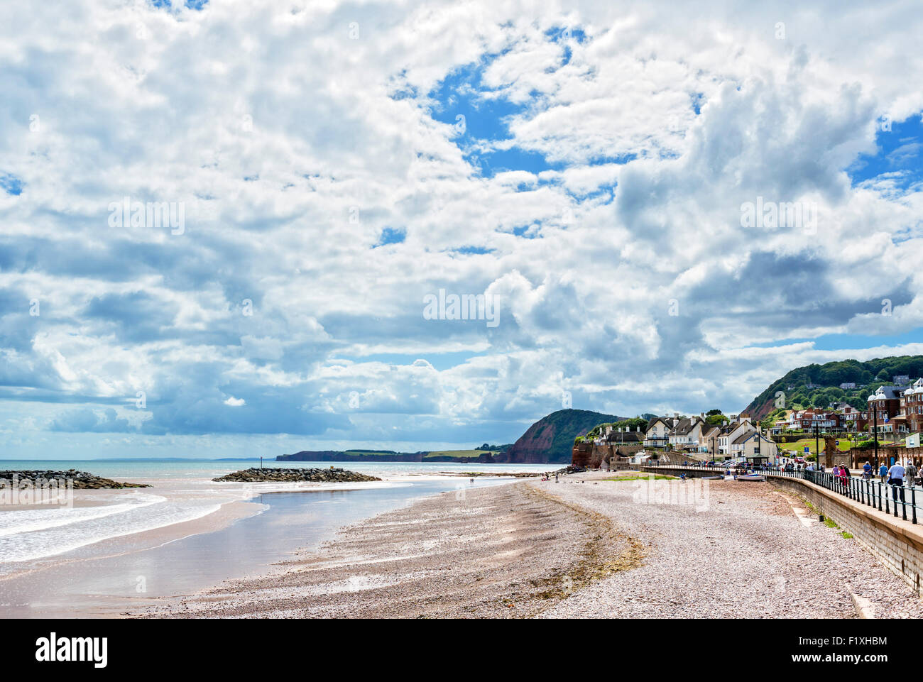 The beach in Sidmouth, Devon, England, UK - Stock Image