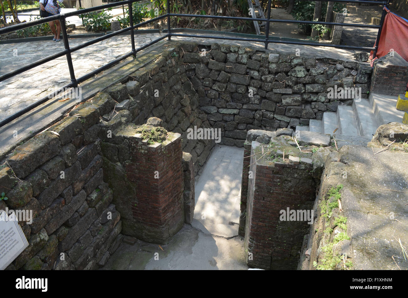 The cell in which Jose Rizal spent some of his time in Fort Santiago, Manila. He was imprisoned here before his - Stock Image