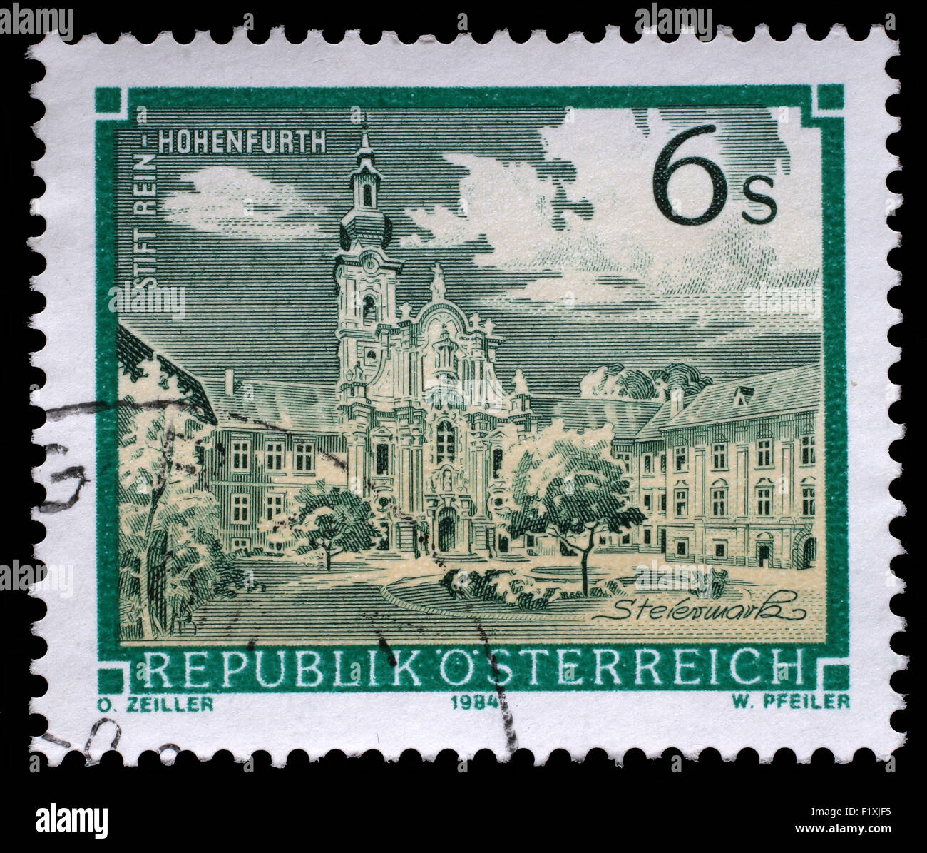 Stamp printed in the Austria shows Rein Abbey, Cistercian Monastery, Hohenfurth, Styria, circa 1984 - Stock Image