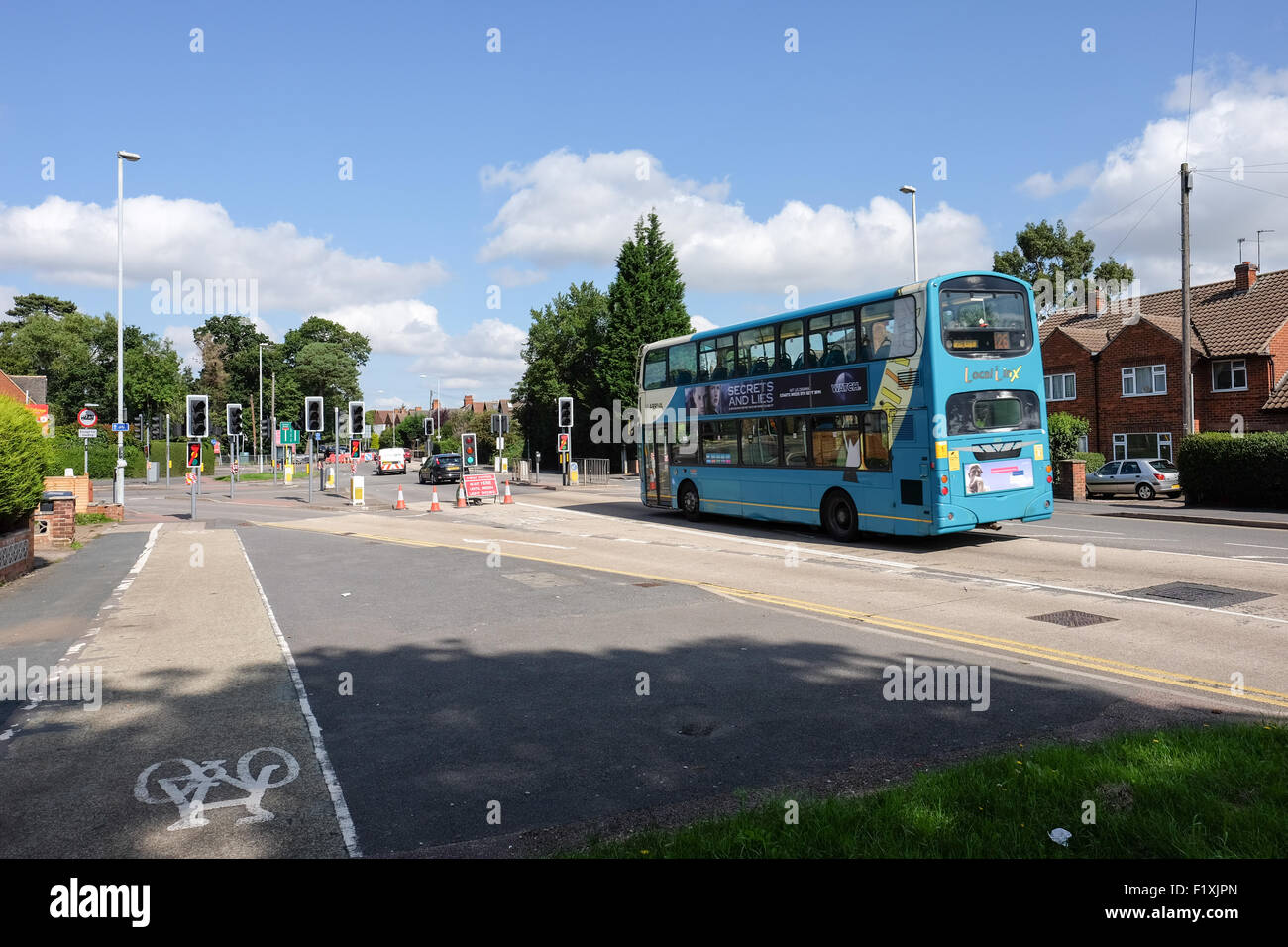 arriva bus in roadworks loughborough - Stock Image