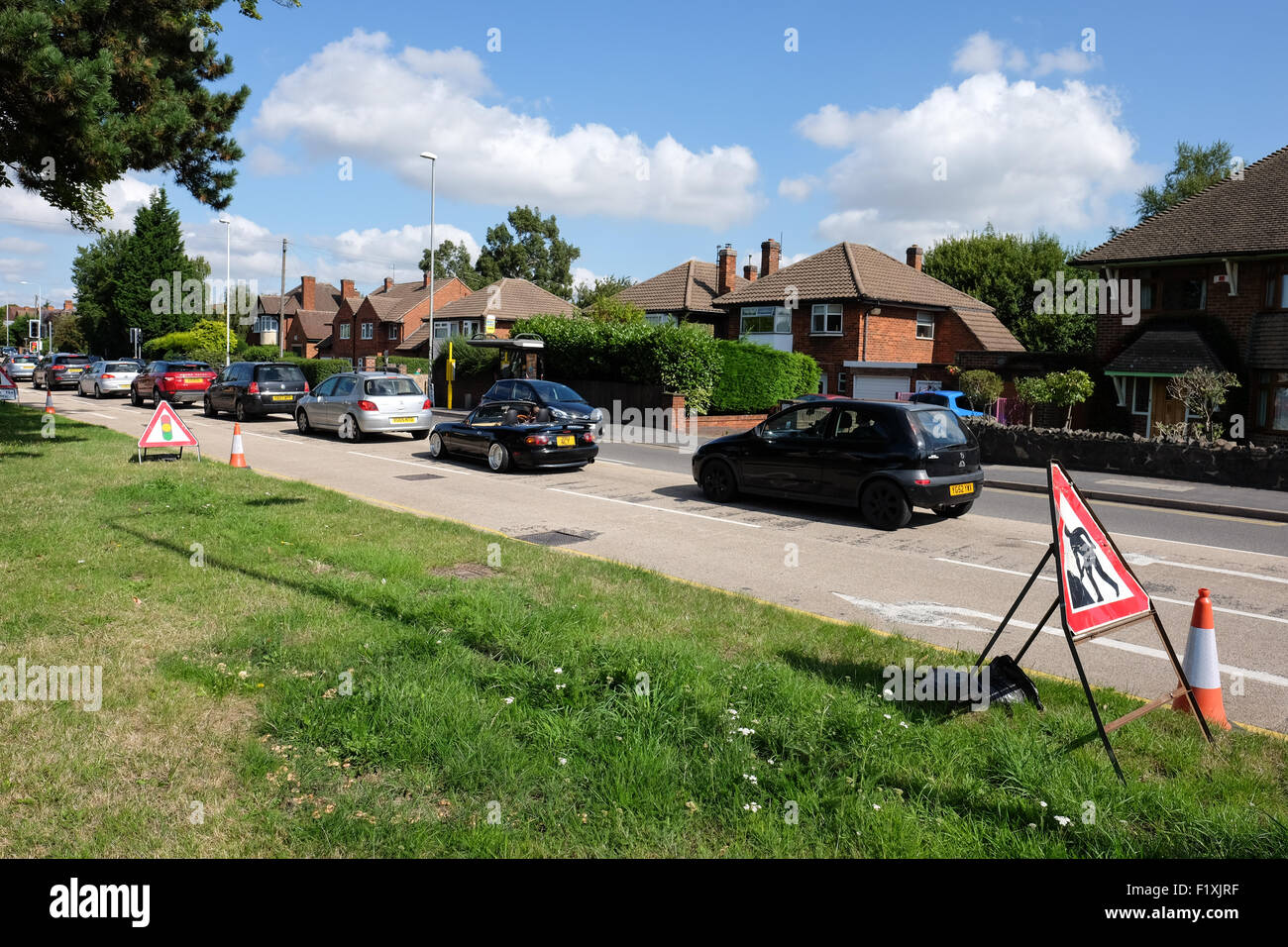 traffic congestion in roadworks loughborough - Stock Image