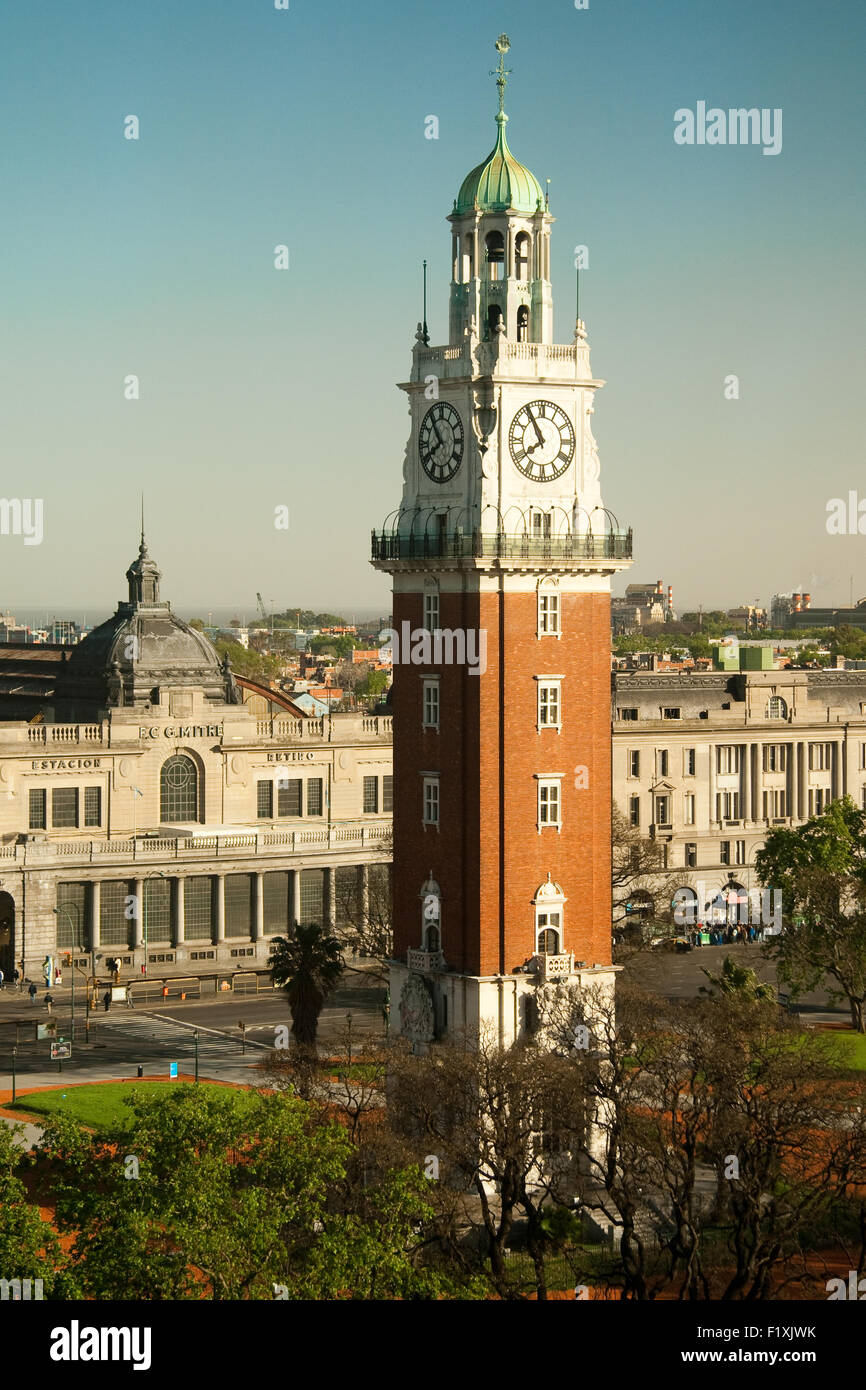 High angle view of Torre Monumental, Plaza Libertador General San Martin, Retiro, Buenos Aires, Argentina - Stock Image