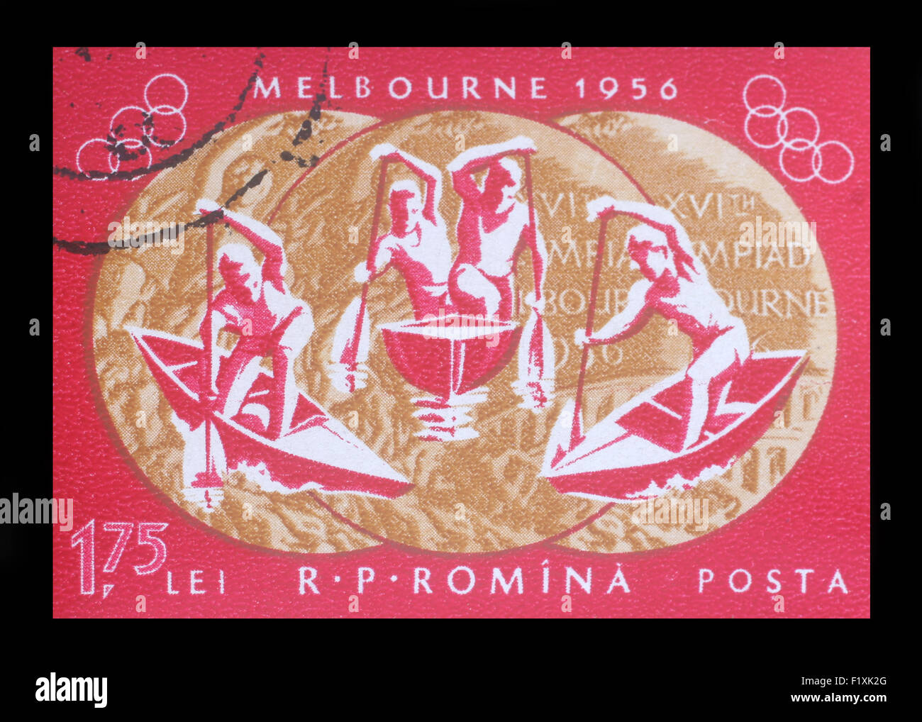 Stamp printed in Romania , shows 1956 Summer Olympics, Games of the XVI Olympiad, circa 1956 - Stock Image