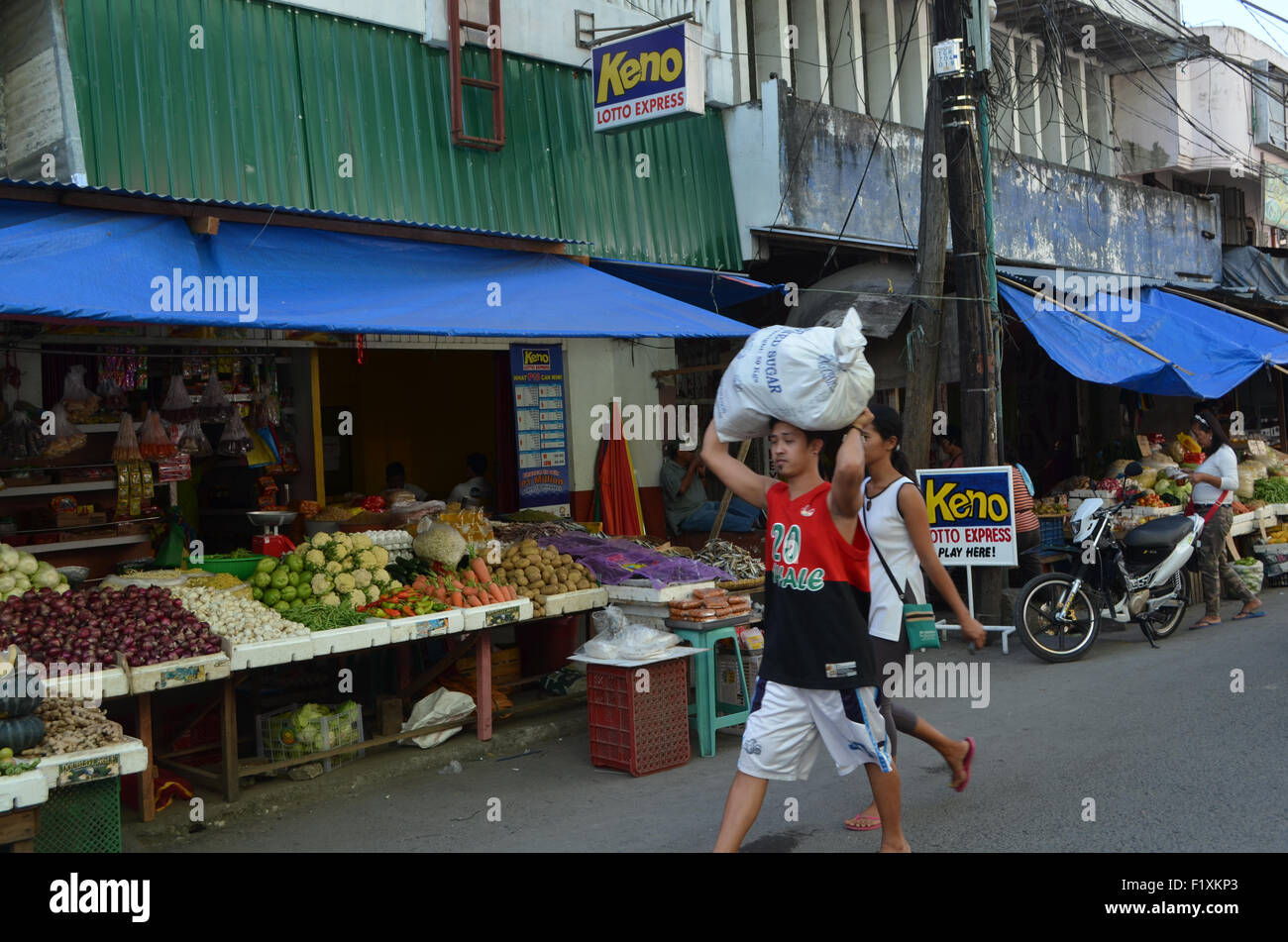 The market place inTugeogharo the northern most state of thePhilippines.Streets stalls selling everything from fresh Stock Photo