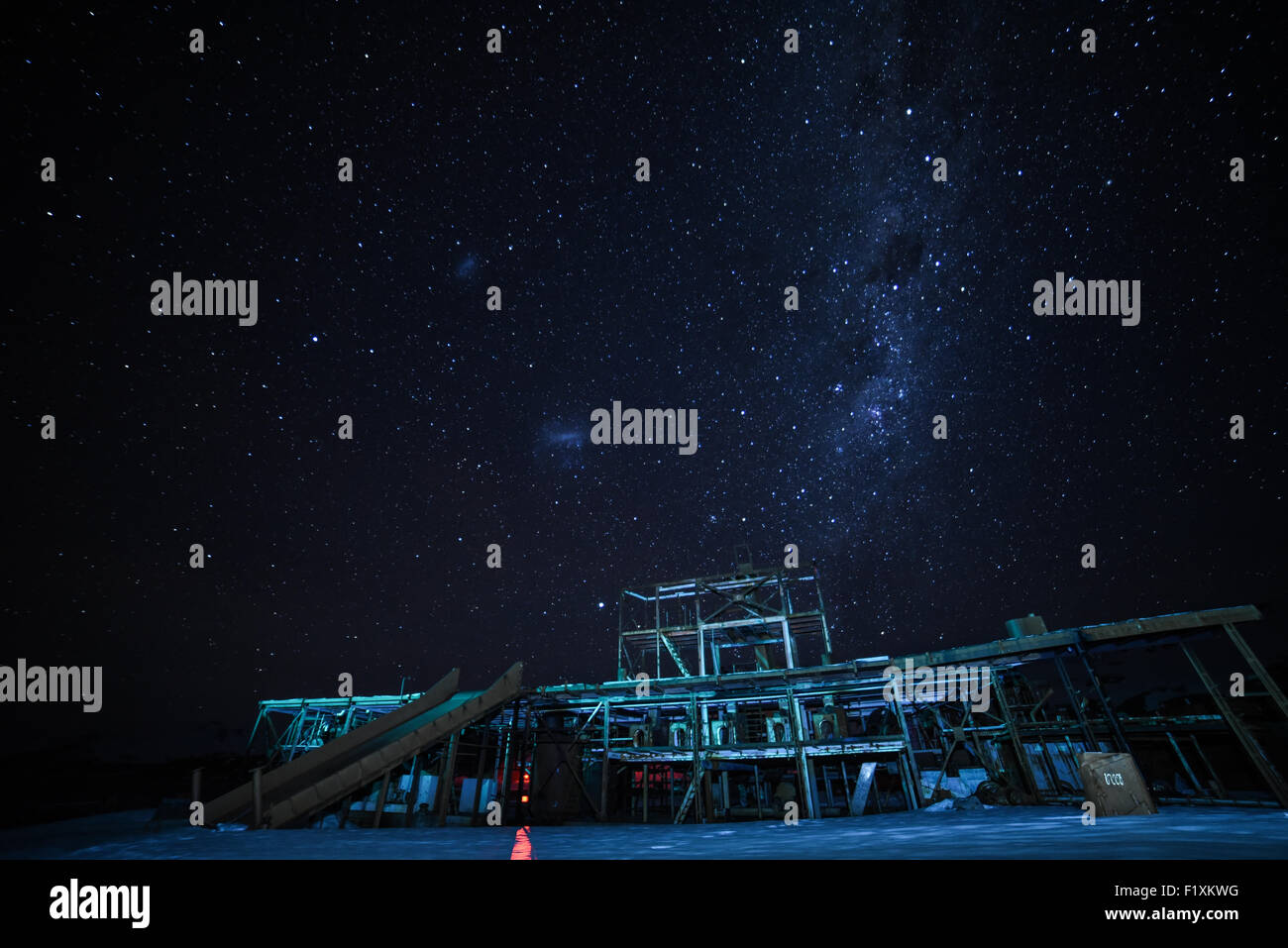 Bright stars during a winter's night above the abandoned whaling station in Grytviken, South Gerogia. - Stock Image