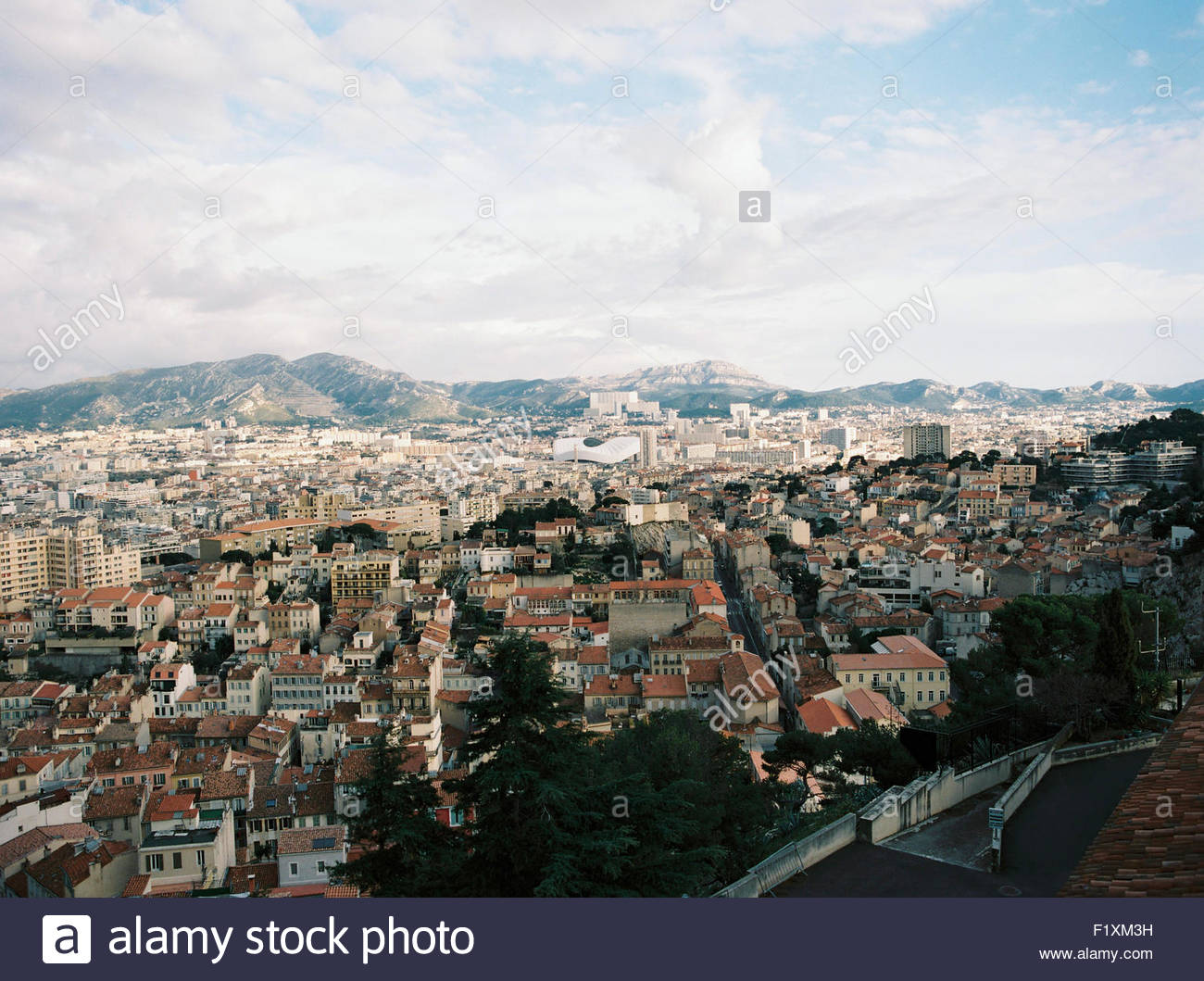 aerial View of Marseille from Notre-Dame de la Garde, - Stock Image